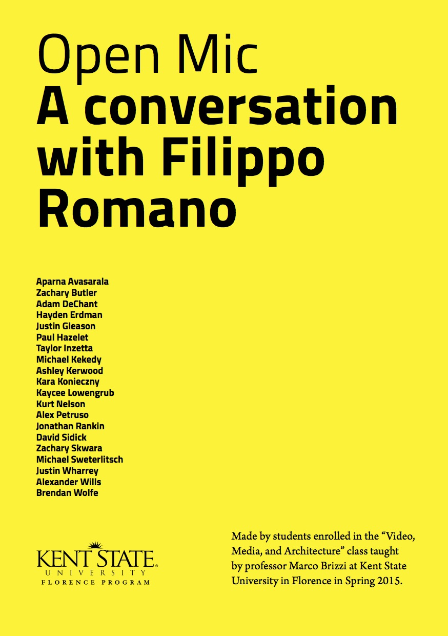Open Mic. A conversation with Filippo Romano.