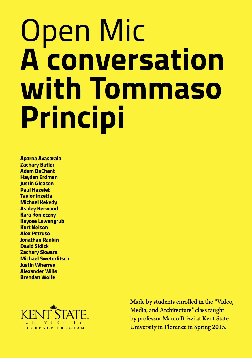 Open Mic. A conversation with Tommaso Principi.